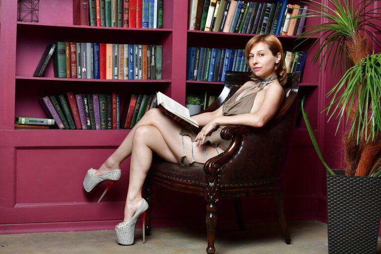 library, girl, dress