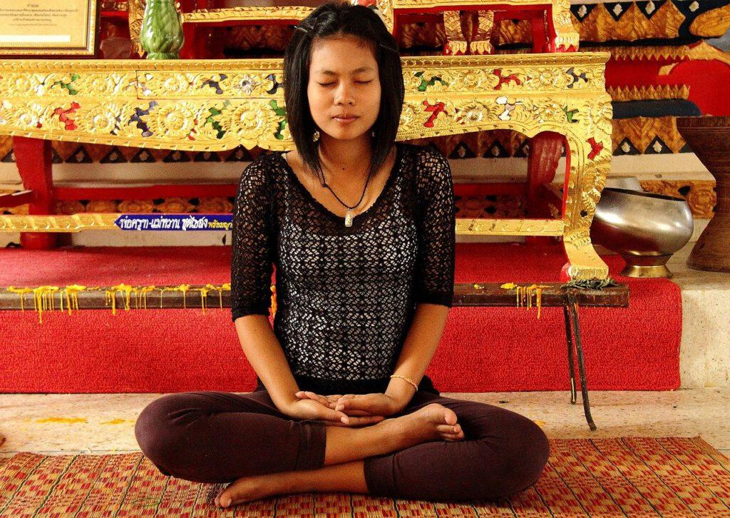 meditation, girl, temple